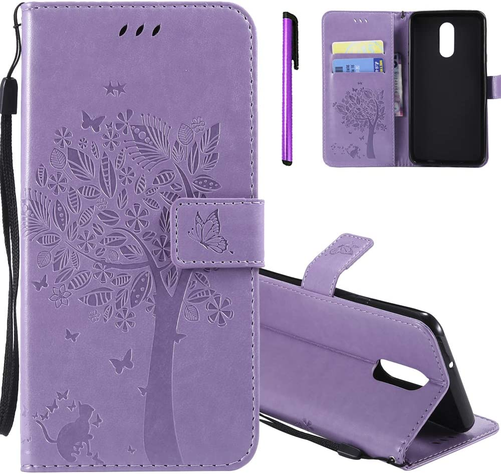 HMTECHUS LG Q8 2018 Wallet case for Girls Elegant 3D Embossed Butterfly Magnetic Flip PU Leather Stand Card Holders Shockproof Protection Cover for LG Stylo 4 / LG Q Stylus Wishing Tree Lavender KT