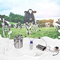 Farm Milker, 5L Goat Sheep Cow Milking Kit Portable Electric Impulse Milking Machine Ultra-Strong Frequency Pulsation Milker(for Cow AU Plug)