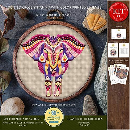 (Mandala Elephant #K564 Embroidery Kit | Funny Animals Cross Stitch Kits | How to Cross Stitch | Needlepoint | Cross Stitch Embroidery | How to Embroider)