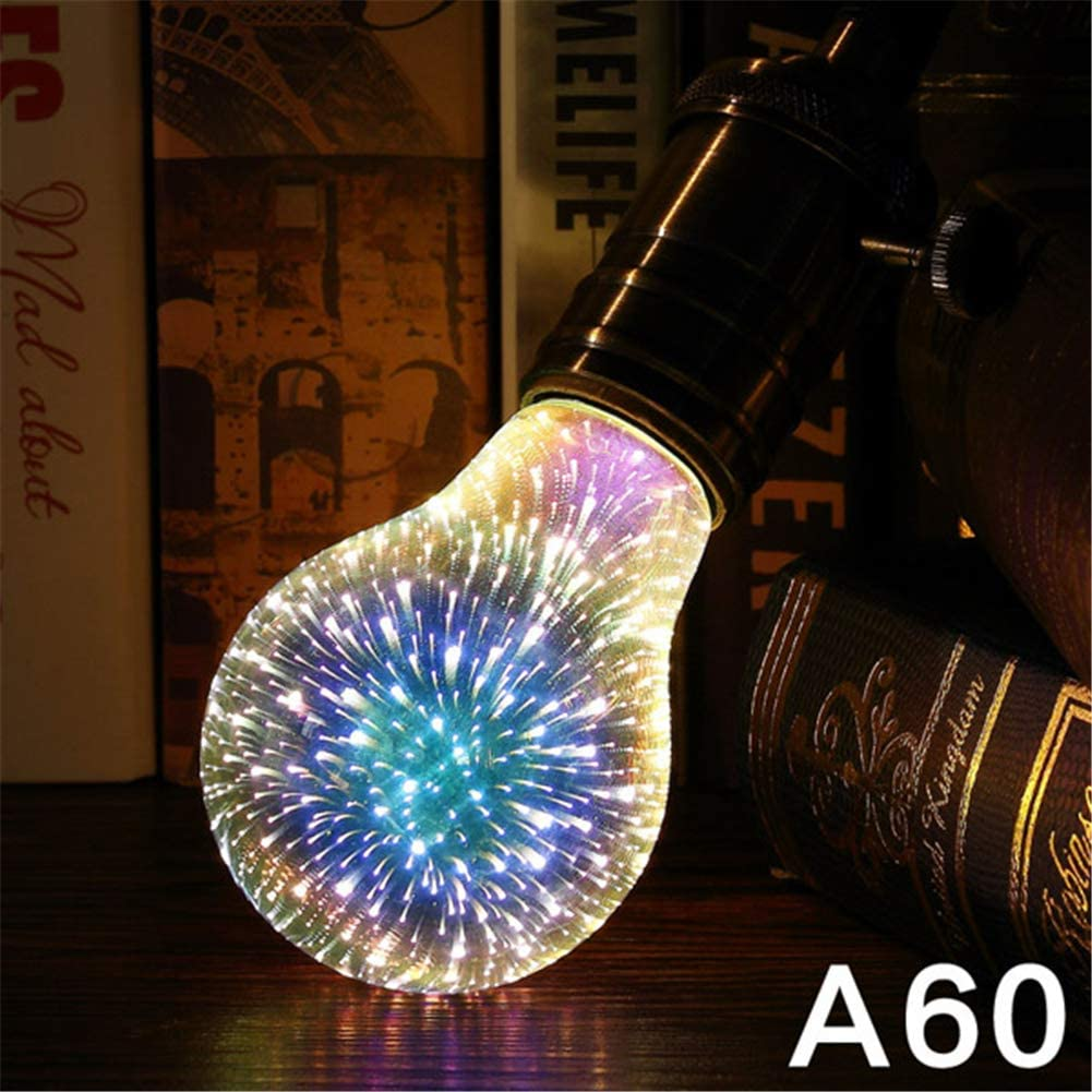 einzelnes LED-Edison-Leuchtmittel f/ür Zuhause Feiertage oder Party-Dekoration G125 3D-Feuerwerk-Gl/ühbirne Bunte Feuerwerks-Gl/ühbirne E27 Aolvo 3D 4 W versilbertes Glas Weihnachten