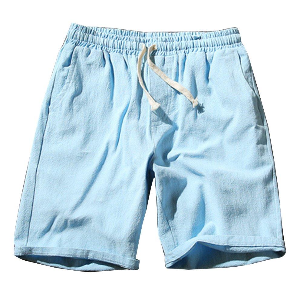 842934e7e040c Homme Shorts Bermudas Chino Pantacourt Pantalon En Lin Plage Sports  Décontracté Léger Confortable Respirant