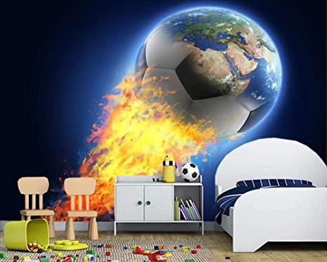 Weaeo Football Fire Ball Globe Earth Sport Carta Da Parati ...