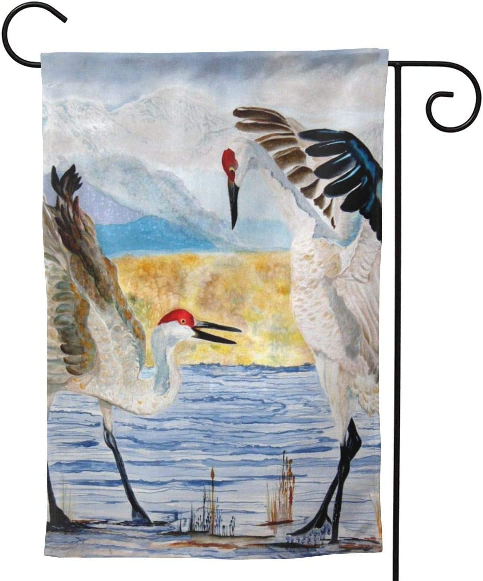 Garden Flag 12 X 18 Inches Polyester Seasonal Flags Sandhill Crane Painting - The Dance - Sandhill Cranes By Anderson R Moore For Outdoor Home Yard Summer Decor Garden Flag Banner Decorative Yard Flag