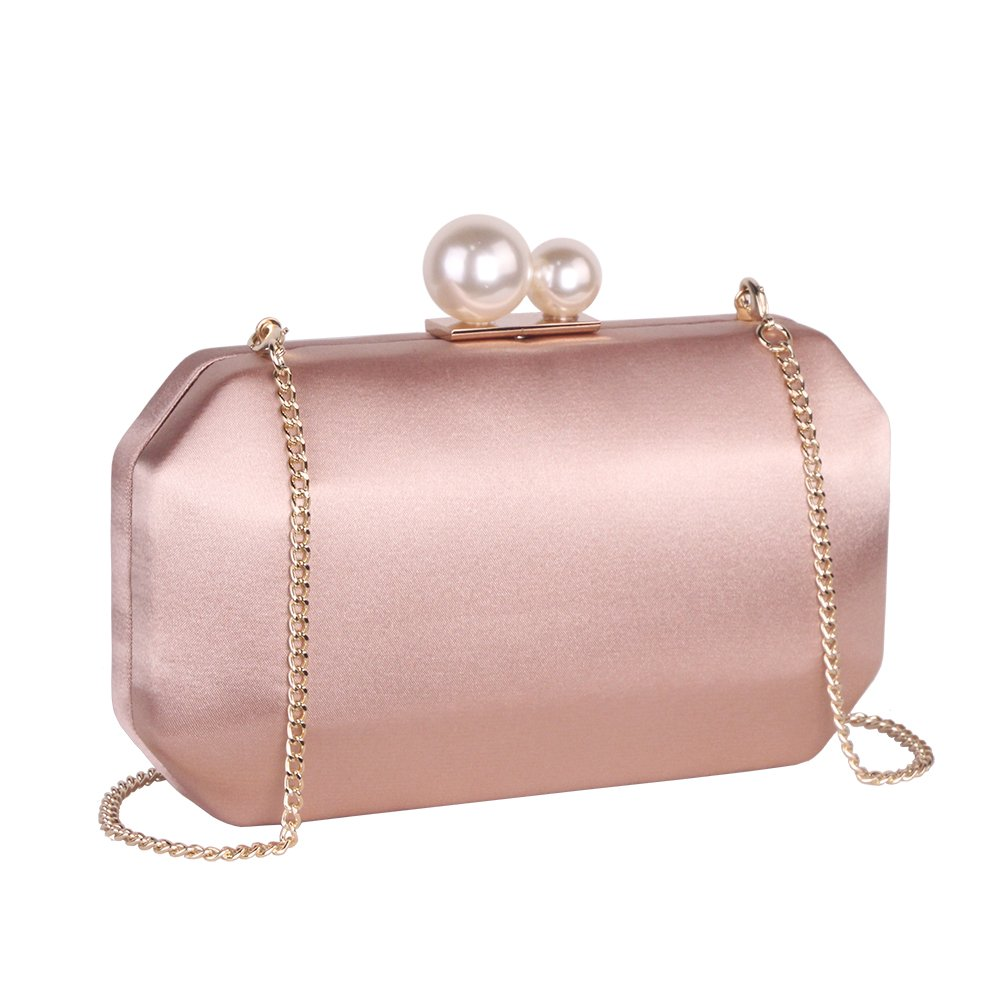 Champagne Satin Clutch Purse Handbags with Pearls Closure for Women, Crossbody Hardcase Evening Bag with Strap Chain for Party