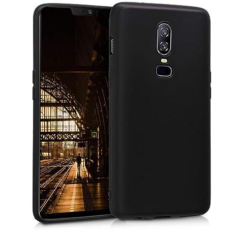 kwmobile Funda para OnePlus 6 - Carcasa para móvil en [TPU Silicona] - Protector [Trasero] en [Negro Mate]