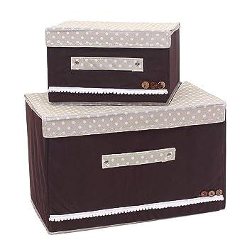 Box - Caja plegable con tapa plegable, caja para ropa y plástico caja para recipiente de almacenar Crate Cloth Caja Plástico Box - Caja de almacenaje marrón ...