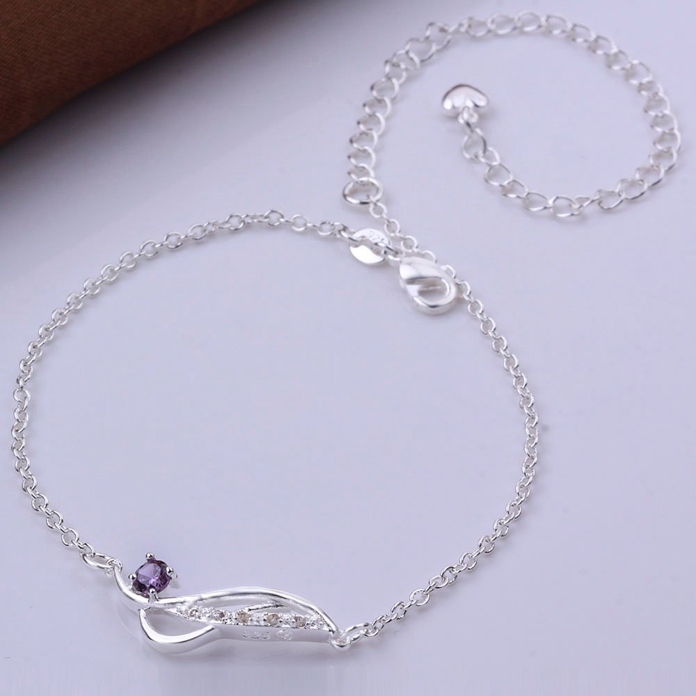 Xiaodou Diamond Anklet Crystal Foot Bracelet Sandals Beach Feet Anklet 925 Silver Infinite Anklet Chain for Women Girls B07D1KCRC7/_US