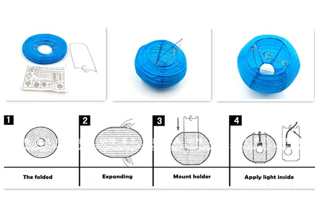 Blue,10pcs Assorted Sizes Kinteshun Folding Paper Lantern Reusable Chinese//Japanese Style Decorative Hanging Lamp Cover