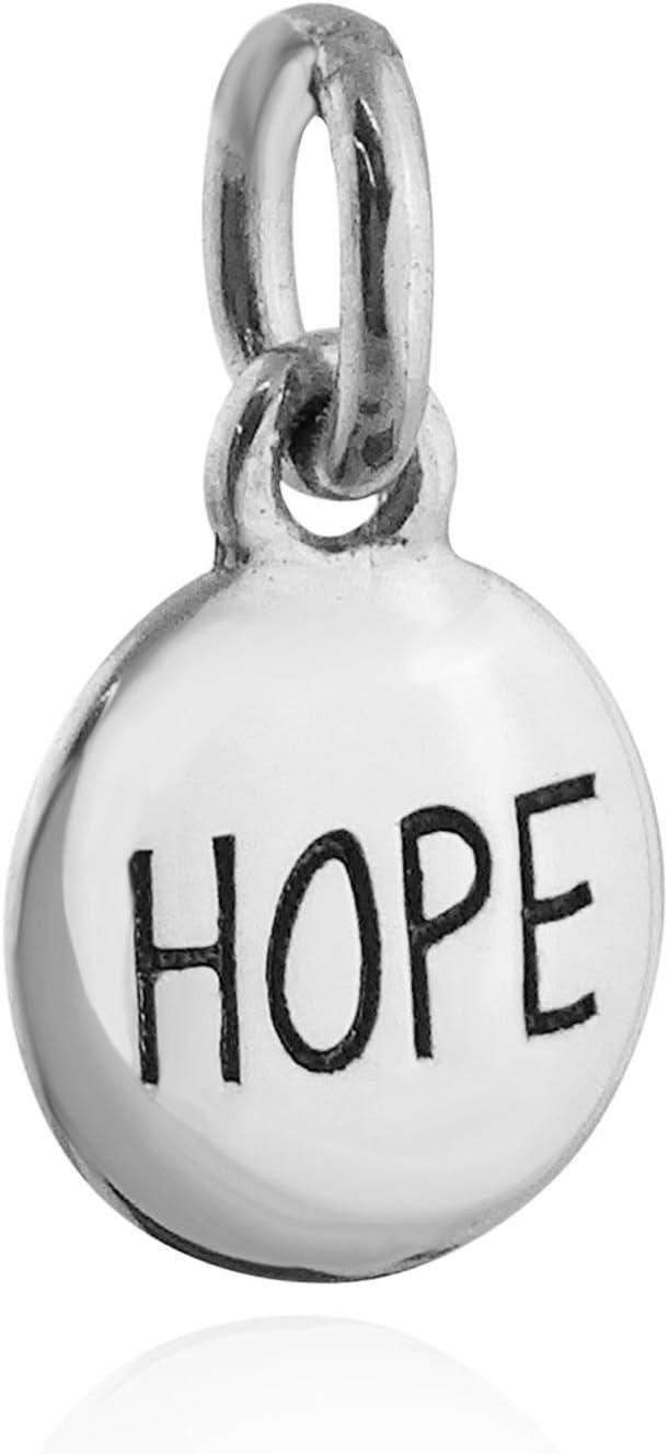 925 Sterling Silver HOPE Affirmation Circle Slide Pendant