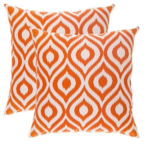 hrow Pillow Covers Ikat Ogee Accent in Cotton Canvas (16 x 16 Inches; Orange) (16 Inch Accent Pillow)