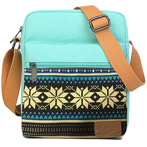Kemy's Girls Snow Purses Set Small Crossbody Tween Purse for Teen Girls Women Canvas Over Shoulder Messenger Bags for Traveling Easter Gifts, Teal Black
