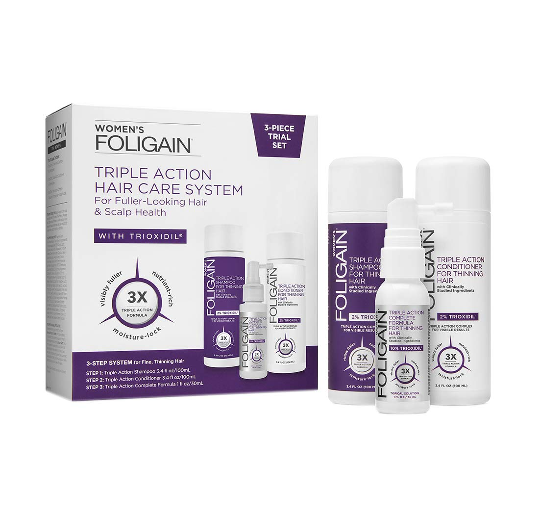 Foligain Triple Action Hair Care System For Women | 3-Piece Travel Set | Women's Hair Care