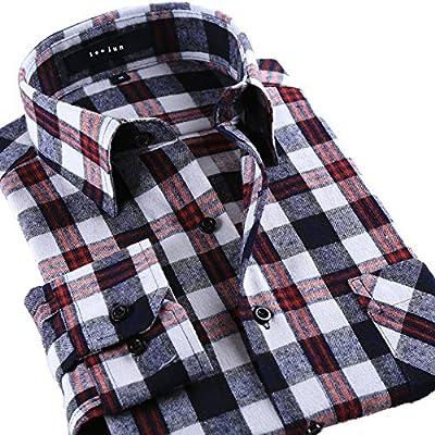 Soojun Men's Plain Long Sleeve Plaid Flannel Dress Shirt