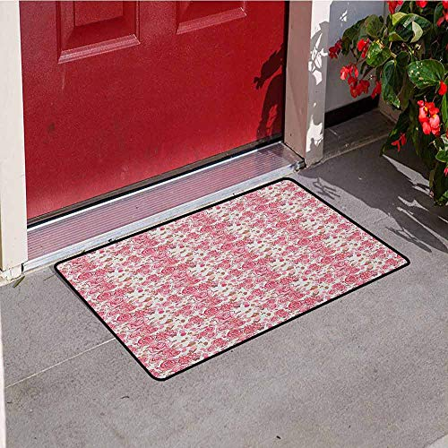 (GloriaJohnson Wedding Welcome Door mat Bouquet of Romantic Sketch Roses Blooming Petals and Leaves Spring Flora Door mat is odorless and Durable W29.5 x L39.4 Inch Pale Pink Pale Brown)