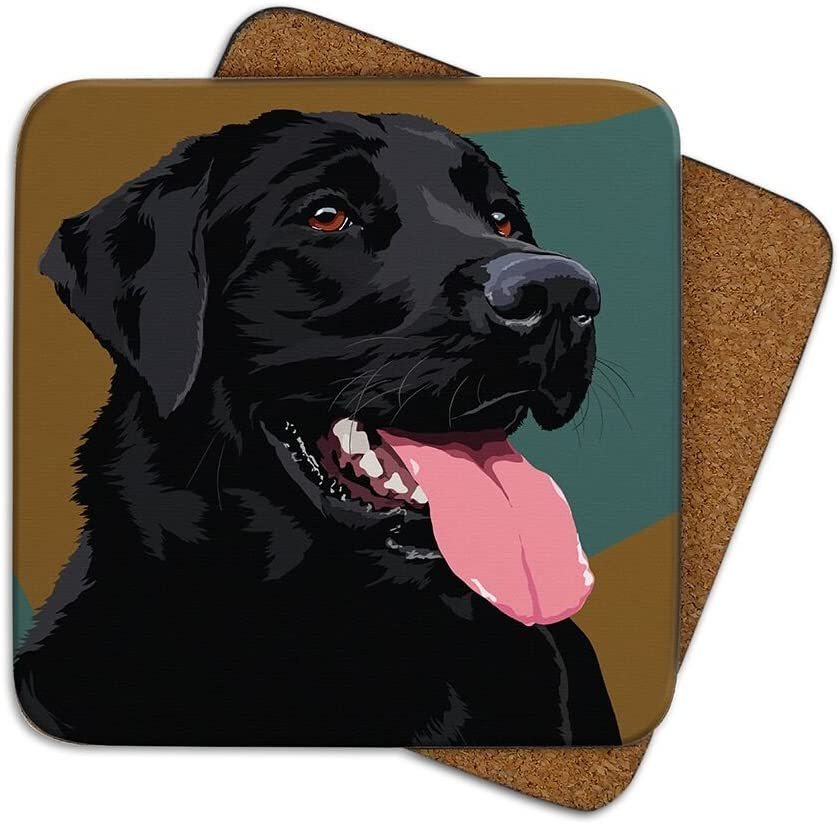 Leslie Gerry Animal Collection Black Lab Coaster