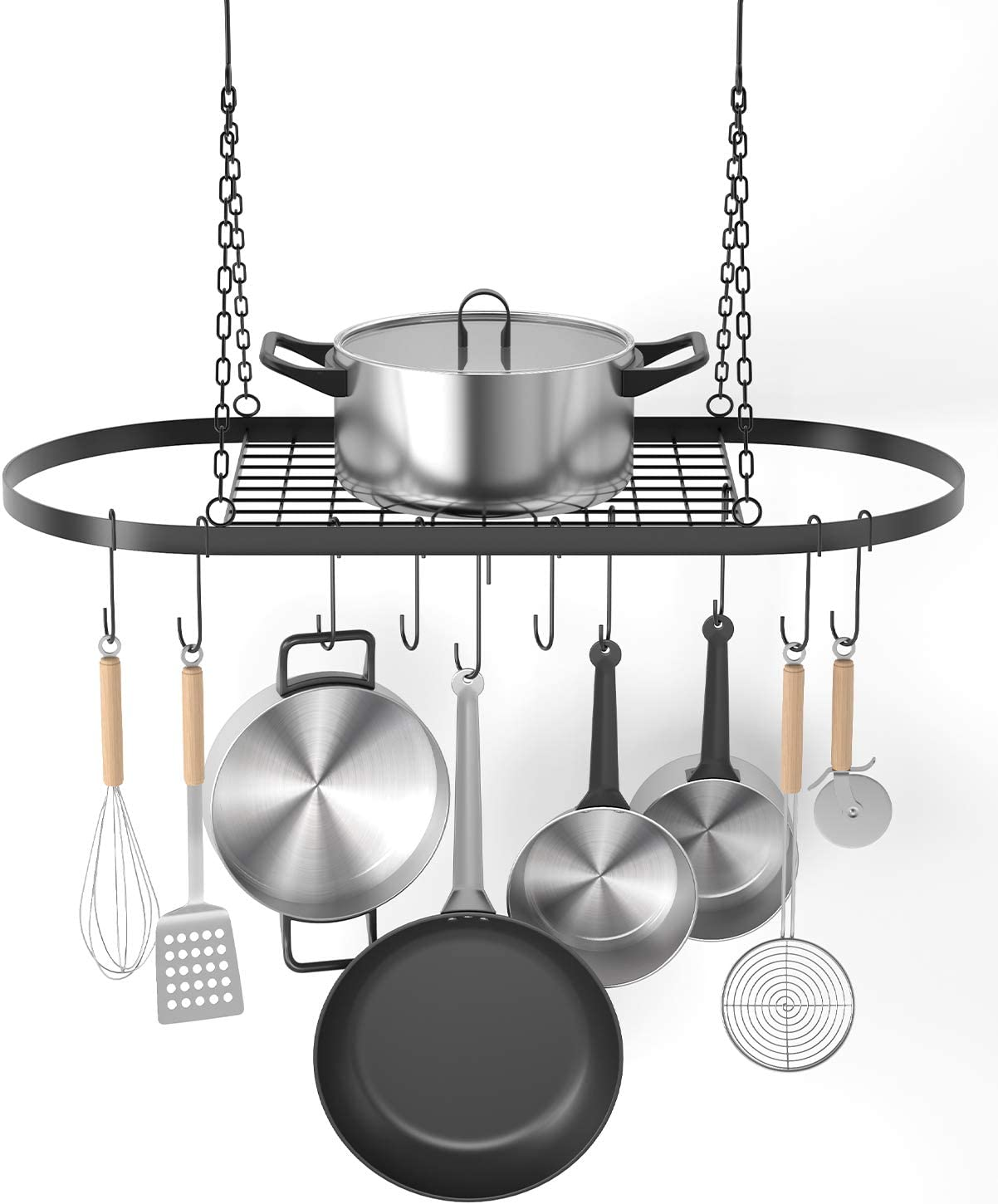 """X Home Pot and Pan Rack for Ceiling with Hooks, Decorative Oval Mounted Storage Rack, Multi-Purpose Hanging Hanger Organizer for Home, Restaurant, Kitchen Cookware, Utensils, Books, 32"""" X 16.5"""""""