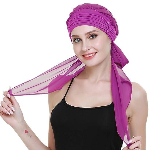 78f83e2caec Amazon.com: Hair Turbans Hats for Cancer Women Wig Cap Long Hair ...