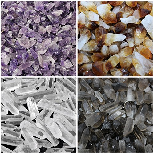 Amethyst, Citrine, Smokey and Clear Quartz Crystal Points Combo Lot (16 oz, 1 lb) by Rainbowrecords239