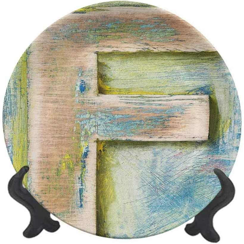"Letter F 10"" Ceramic Decorative Plate,Damaged Worn Uppercase F Printing Symbol Antique Letterpress Block Typeface Dinner Plate Decor Accessory for Pasta,Salad,Party Kitchen Home Decor Green Blue Tan"
