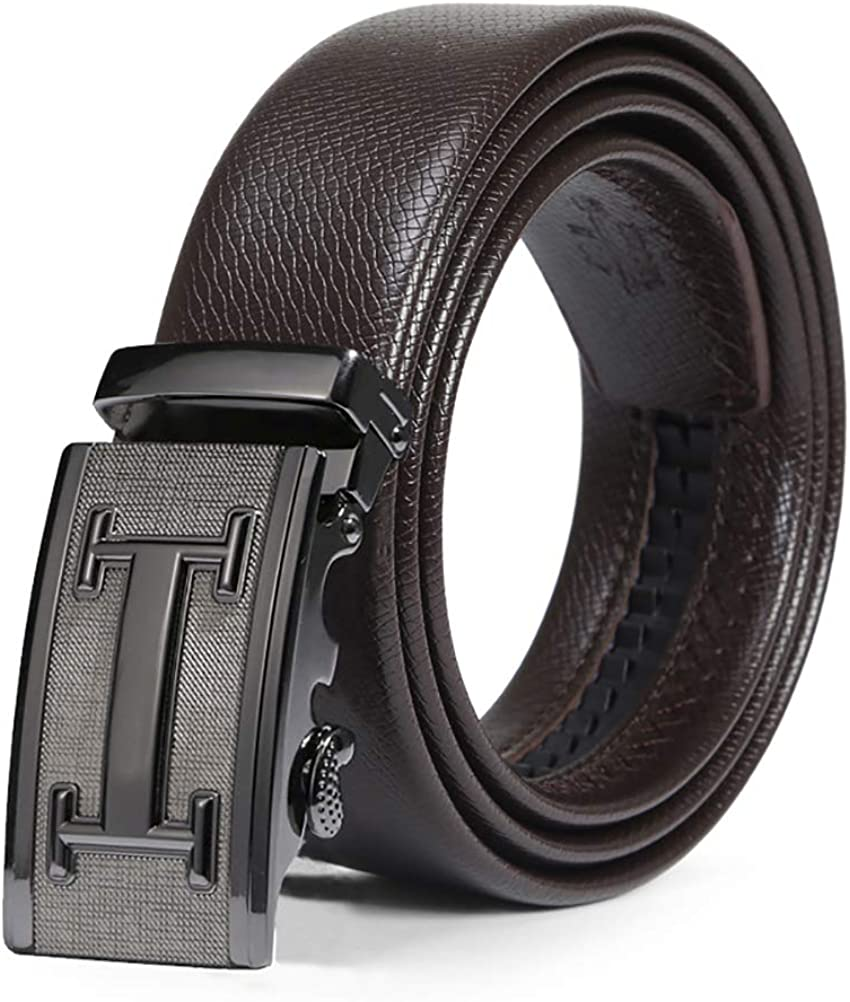 ViewHuge Mens Brown Leather Ratchet Dress Belt with Automatic Click Buckle