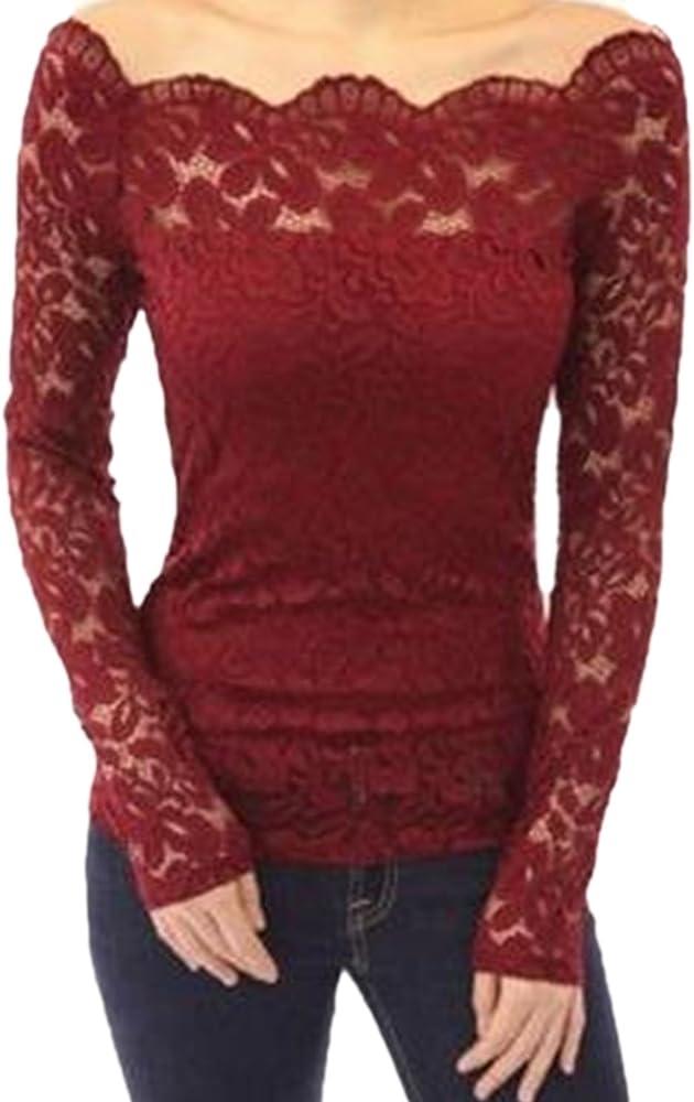 QBQ Mujeres Sexy Off Hombro Floral Encaje Manga Larga túnica Tops Camiseta Blusa (Rojo, L: UK16-18 / EU44-46: Busto: 38-40) : Amazon.es: Ropa y accesorios