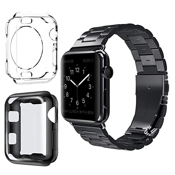 sports shoes 8a707 3d0fc VIPPLUS for Apple Watch Band Stainless Steel Links Metal Wristband Clasp  w/Clear Soft TPU Protective Case iWatch Cover for Men Women for Apple Watch  ...