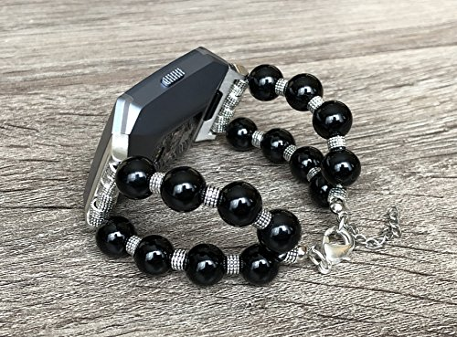 Black Onyx Stones Jewelry Bracelet For Fitbit Ionic Smart Watch Single Wrap Double Row Design Handmade Accessory Fitbit Ionic Band Natural Beads Fashion Luxury Wristband