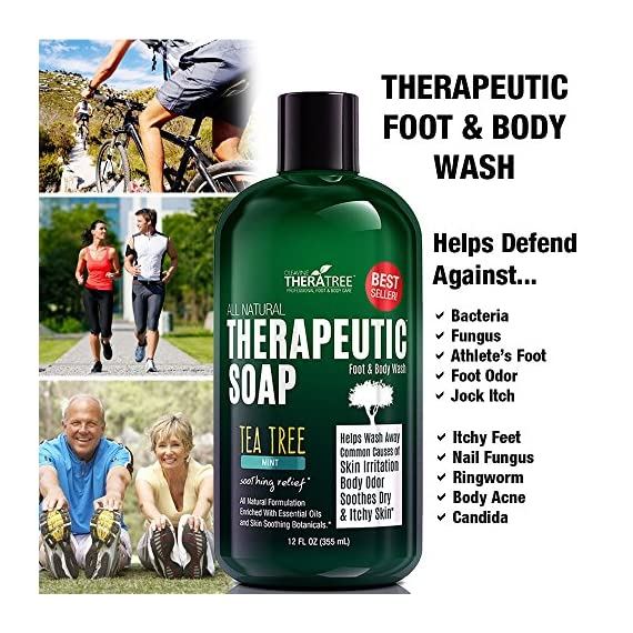TheraTree Tea Tree Oil Soap with Neem Oil - 12oz - Helps Skin Irritation, Body Odor, & Helps Restore Healthy Complexion… 3 ORGANIC & NATURAL INGREDIENTS (NO HARMFUL CHEMICALS!!!) NO Chemical Preservatives, Thickeners, Detergents, Petroleum, Silicone, Synthetic Fragrance or Dyes. CONCENTRATED VALUE SIZE – Rich Foaming Action and Concentrated Liquid Solution Formula Means a Little Goes a Long Way. Gentle Enough for Daily Use. Ideal for Athletes. Soothing Body Wash For Men and Women. COMPLEXION CONTROL - Helps Wash Away Dirt, Impurities, & Make-up from Skin Surface and Pores. Helps Revitalize Your Skin.