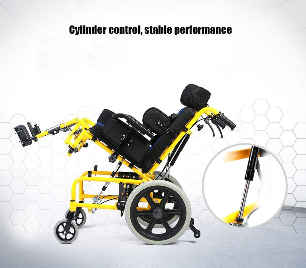 Creativo Ligero Plegable Silla de ruedas para niños Conducción Médica Multifuncional Totalmente tumbado Plano Silla de ruedas reclinable Coche Silla de ...