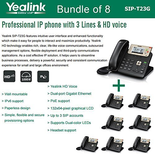 Yealink SIP-T23G, 3 Lines HD Professional VoIP Phone, 3SIP Accts, 3way conf., dual port Gigabit, PoE, BUNDLE of 8 by Yealink