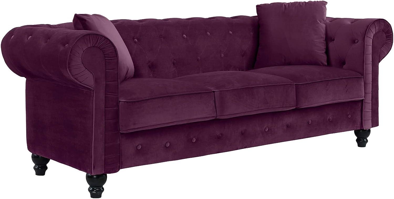 Casa Andrea Milano llc Classic Velvet Scroll Arm Tufted Button Chesterfield Sofa (Grey), Large, Purple
