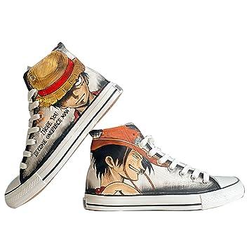 Una pieza Luffy Zoro Ace ley Cosplay zapatos zapatillas zapatos de lona pintado a mano zapatos 4 opciones, Luffy Ace Multicolor: Amazon.es: Deportes y aire ...