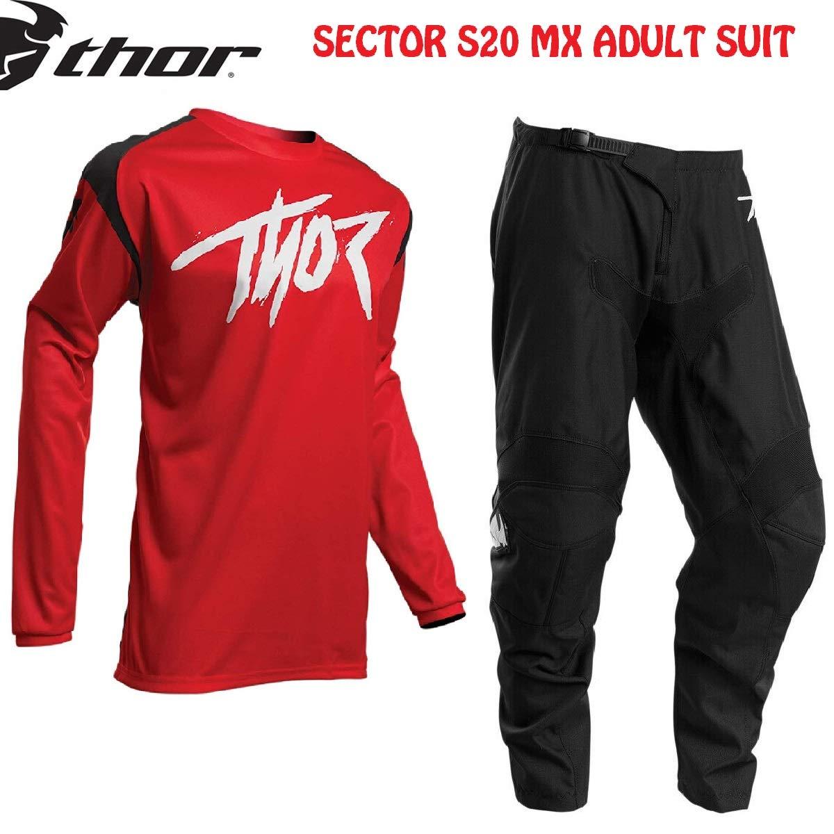 Nero Rosso Thor Tuta Motocross da Corsa Sector-2020 MX Jersey e Pantaloni Moto off-Road Enduro Quad Tute Sport Racewear Camicia e Pants Fuoristrada Cross Racing Suit