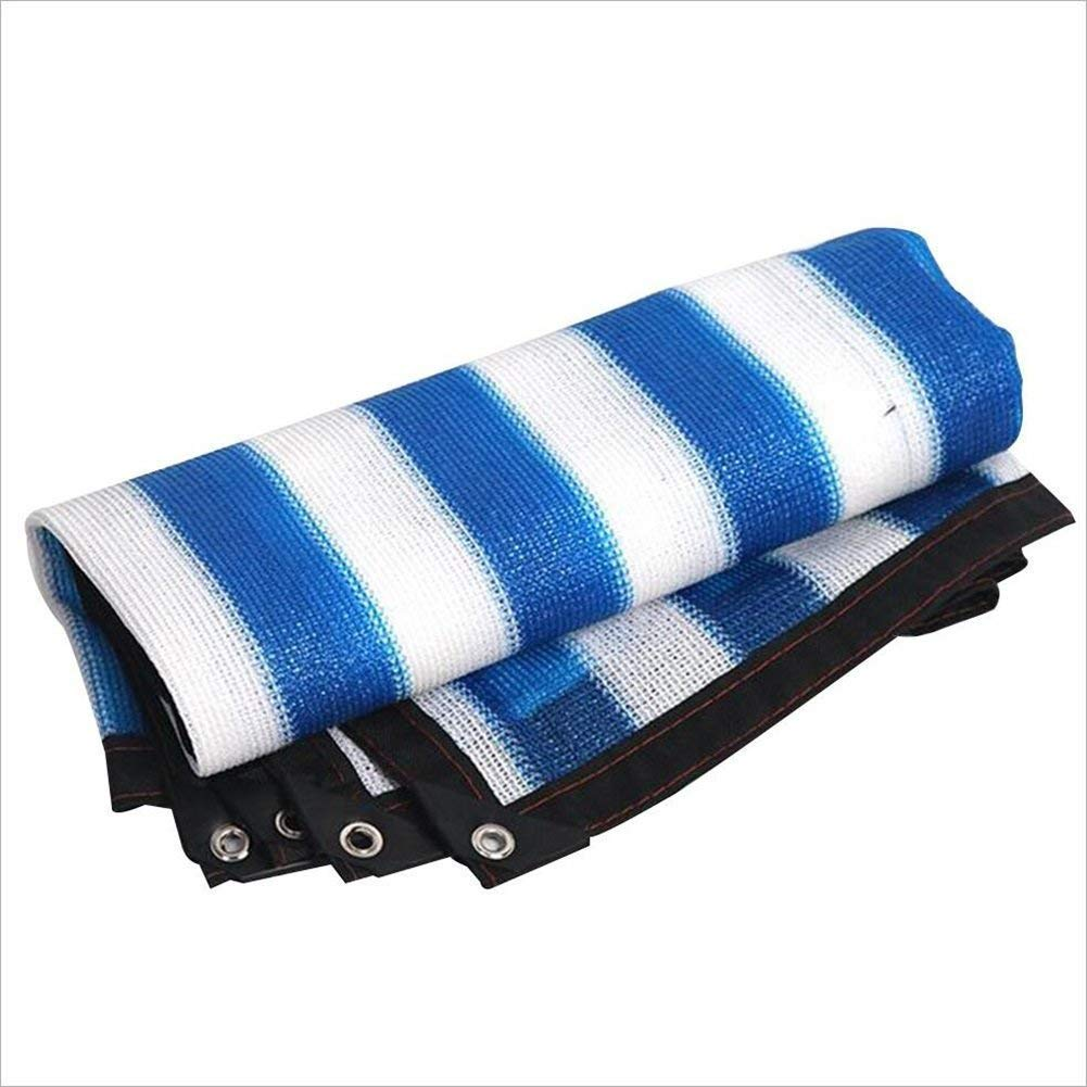 シェードネット、日除け、サンネット、日焼け止めメッシュ、キャノピーテント生地タープセイル、UV耐性保護に適してプライバシー、複数のサイズを選択することができます青と緑 (色 : Blue+white, サイズ さいず : 6*8M)   B07K8SLJ9J