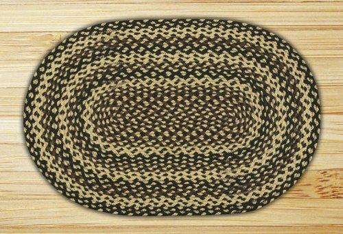 Earth Rugs C-116 Braided Rug, 20 x 30, Ebony/Ivory/Chocolate 20 x 30 02-123