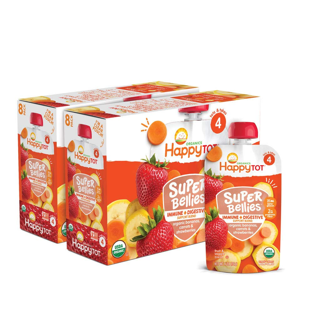 Happy Family Tot Organics Super Bellies Stage 4 Immune + Digestive Support Blend Organic Banana Carrot Strawberry 4 Ounce Pouch, 16 Count