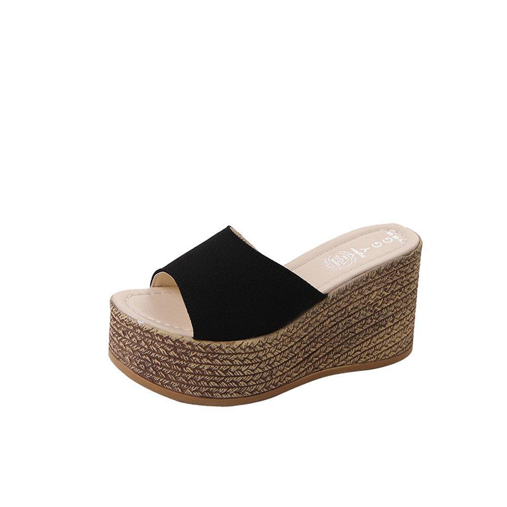 LUCKYCAT Sandales d de Pente été Femme, Solide Prime Day Amazon Chaussures de Été Sandales à Talons Chaussures Plates Solide Fond épais Pente Bohême Pantoufles 2018 Noir c799494 - deadsea.space