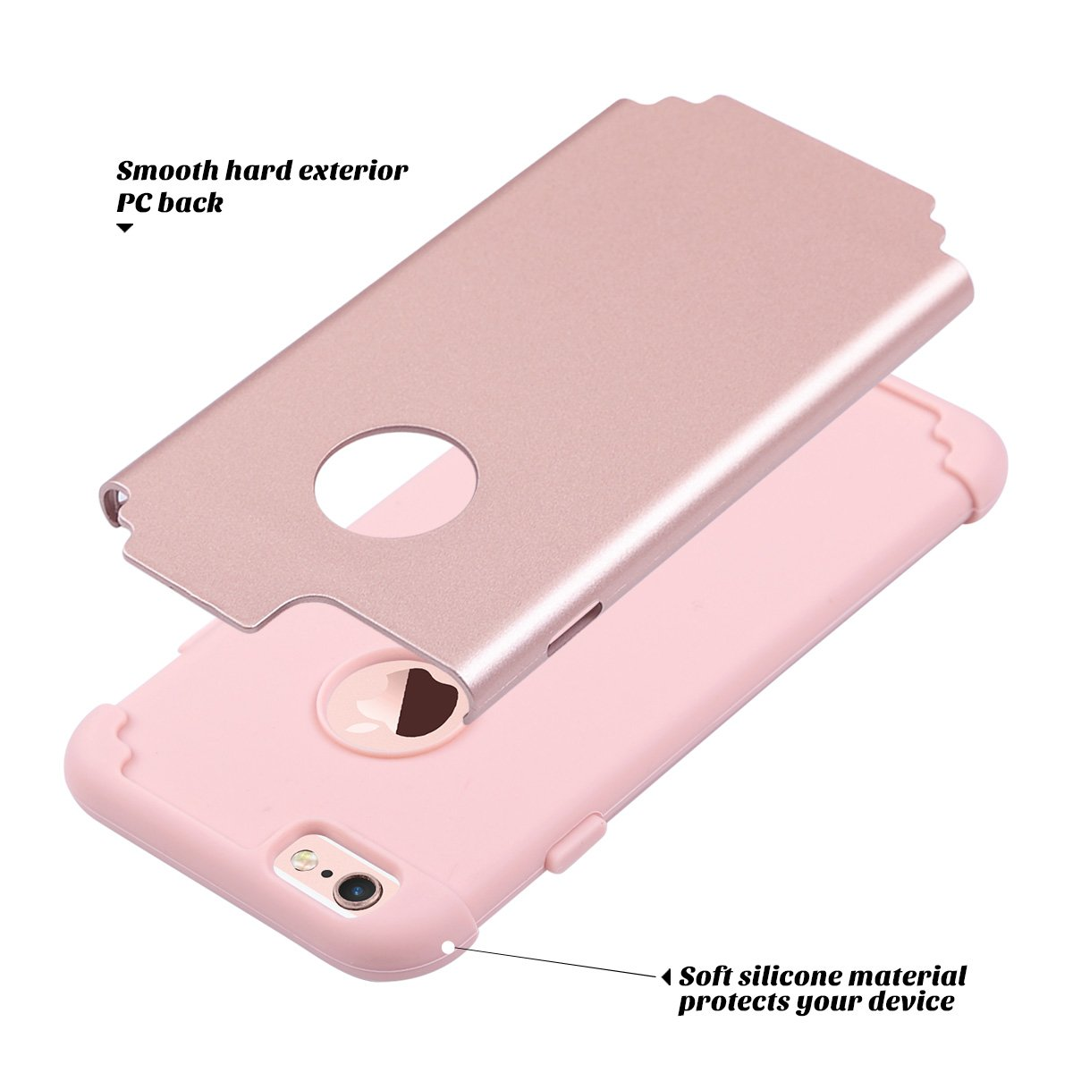 6S 4.7 inch iPhone 6 Case Rose Gold Slim Fit Dual Layer Soft Silicone /& Hard Back Cover Bumper Protective Shock-Absorption /& Skid-Proof Anti-Scratch Case for Apple iPhone 6 ULAK iPhone 6S Case