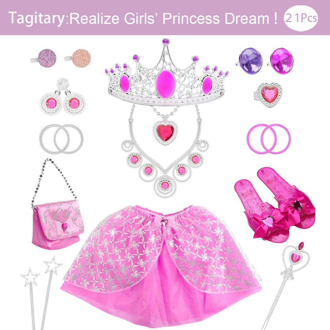 Tagitary 21 Pack Princess Pretend Jewelry Girl's Toys, Girl's Jewelry Dress Up Play Set,Birthday Party Supplies Included Crowns,Necklaces,Wands,Rings,Earrings,Bracelets,and Skirt