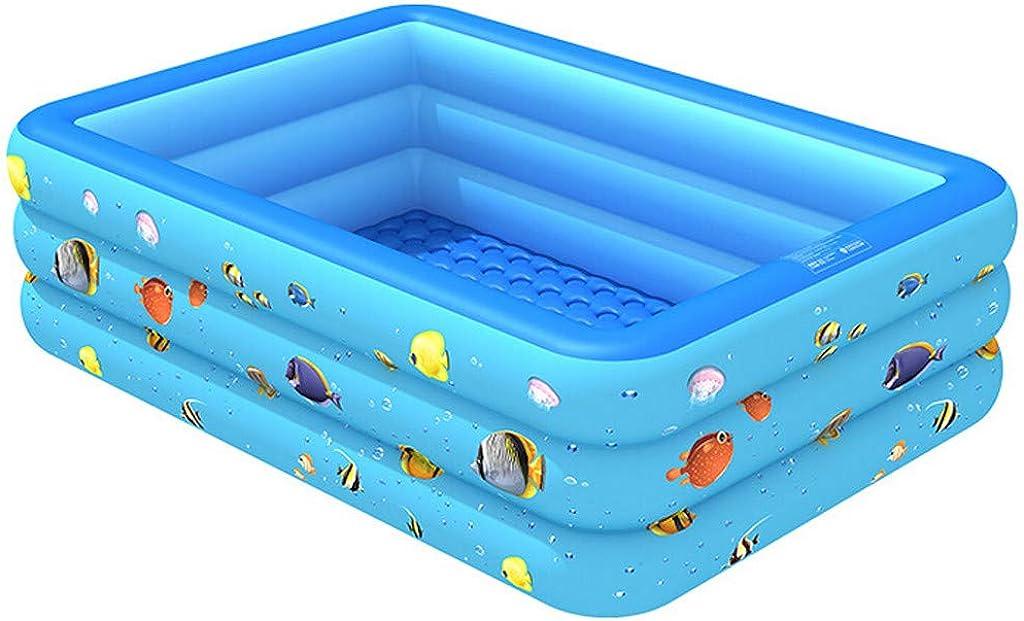 LHWY Verano Piscina Hinchable Infantil Rectangular 130 x 85 x 50 CM, Piscinas Desmontables Nadando Pool Inflable para Niños Bebés, Perfecto para Terrazas Jardín Interior Exterior