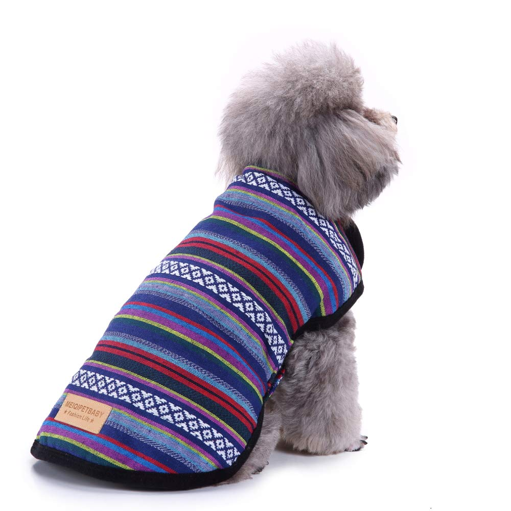 bluee Striped Back 15.56'' Chest 22.04'' bluee Striped Back 15.56'' Chest 22.04'' MDCT Soft Warm Fleece Dog Clothes Pets Puppy Cold Weather Coat Mexican Style bluee Striped Back 15.56'' Chest 22.04'',