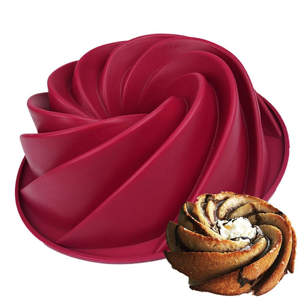 Joyeee 96 Spiral Burgundy Wine Cake Mold Pan Silicone Baking For Birthday Muffin Bread Pie Flan