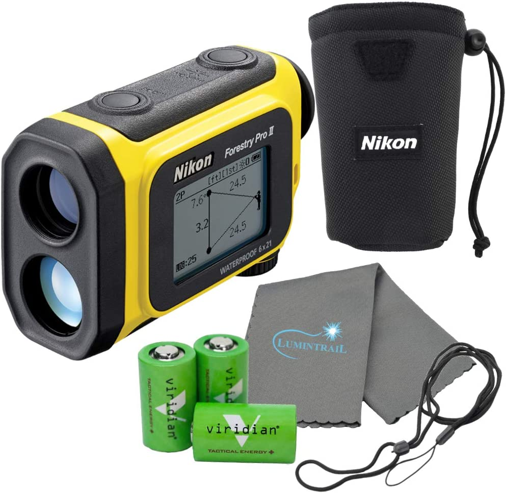 Nikon Forestry Pro II Laser Rangefinder Hypsometer Bundle with 3 Extra CR2 Batteries and a Lumintrail Cleaning Cloth