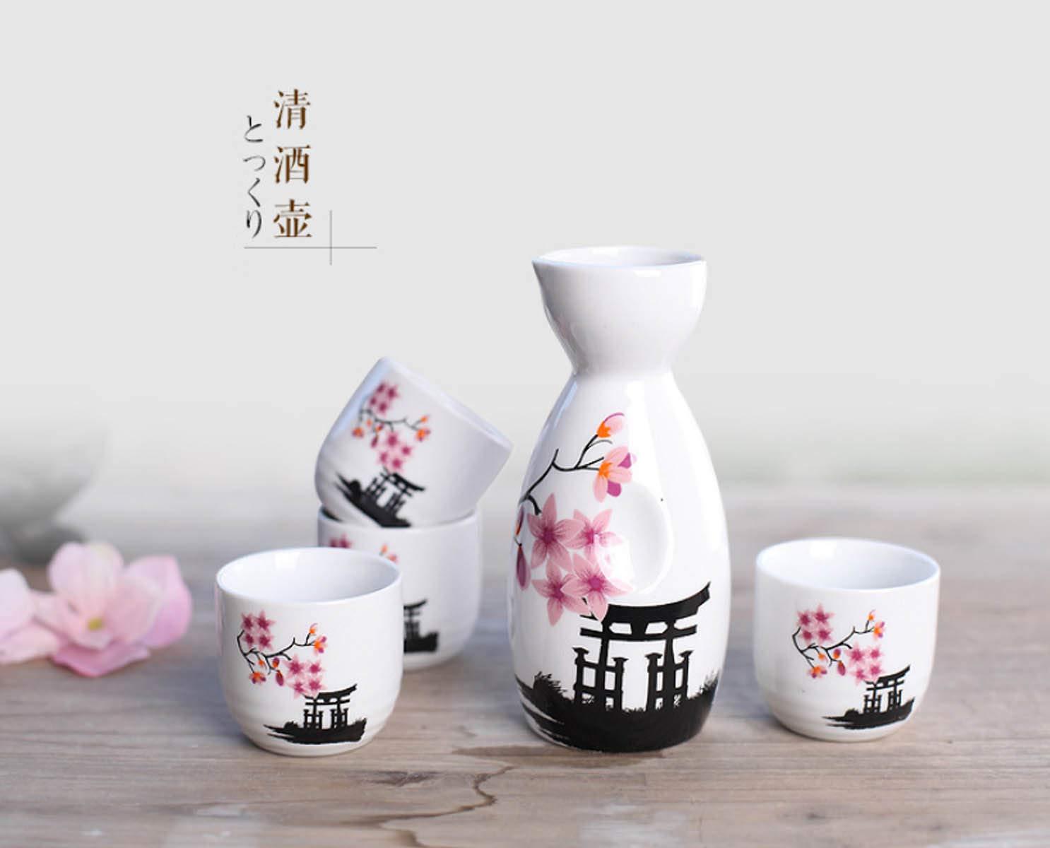 Japanese Ceramic Sake Set ~ 5 Piece Sake Set (Included 1 TOKKURI bottle and 4 OCHOKO cups) W/Sakura Flower Patterns by Mose Cafolo