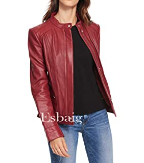 Amazon.com: DOLLY LAMB Womens Lambskin Leather Moto Biker ...