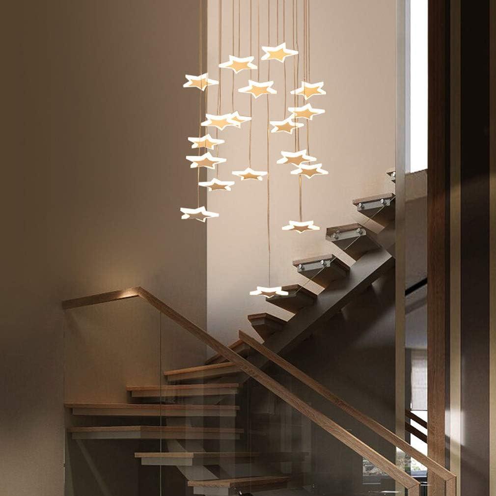 54W LED Colgante de luz Hueco de escalera Lámpara de techo Blanco Acrílico Colgante Hotel Moderno Decoración Araña de luces, Blanco cálido - luz, 18- Llama, Ø 45cm, Altura máx. 4m Altura