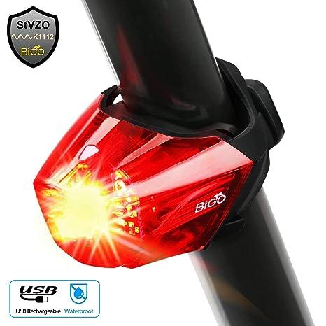 BIGO Fahrrad Rücklicht, StVZO Zugelassen Ultra Hell LED USB Aufladbar Wasserdichte Fahrradlicht Fahrradbeleuchtung Fahrradlampe Aufladbar