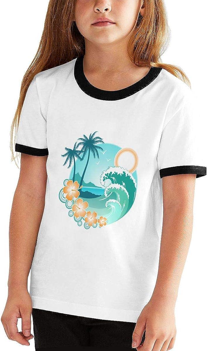 Kids Or Little Boys and Girls Manlee Hawaiian Sea Beach Palm Tree Unisex Childrens Short Sleeve T-Shirt