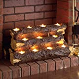 "Southern Enterprises Resin Tealight 24"" Fireplace Log, Faux Rustic Wood Finish"