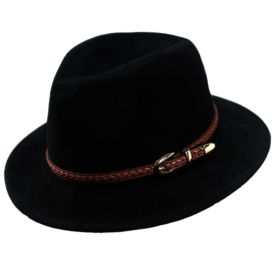 Wool Fedora Hat,Women's Wide Brim Felt Panama Crushable Vintage Trilby with Leather Band by Anycosy